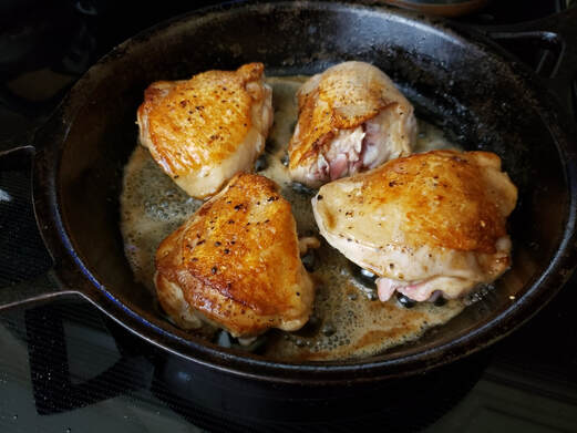 Pan seared golden brown chicken